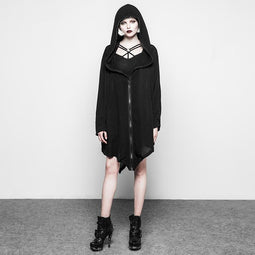 Women's Goth Hooded Coat Asymmetrical Length-Punk Design