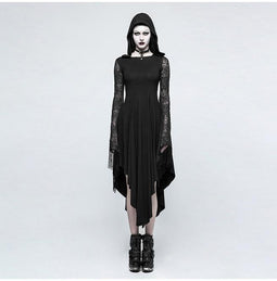 Women's Goth Hooded Lace Sleeve Irregular Maxi Dress-Punk Design