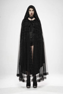 Punk Rave Women's Goth Hooded Long Capes With Mesh Hem