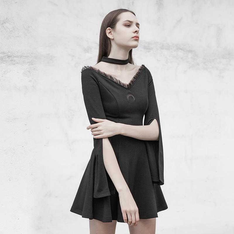 Womens Goth Lace Black Little Dress With Slit Sleeves