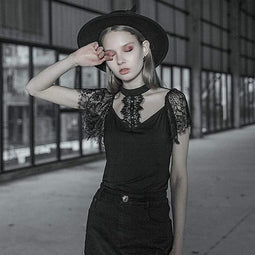 Punk Rave Damen Goth Lace Titted Shirt