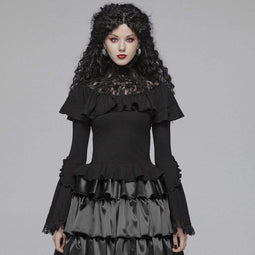 PUNK RAVE Women's Goth Lace Flare Sleeved Ruffles Tops