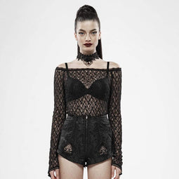 Punk Rave Women's Goth Lace Long Sleeved Mesh Tops