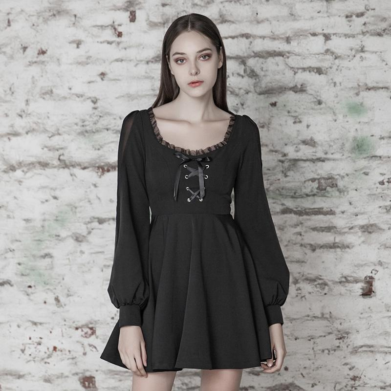 Womens Goth Low Cut Black Little Dress With Puff Sleeves