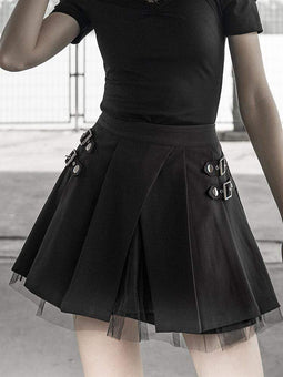 PUNK RAVE Women's Goth Multilayer Pleated Skirt