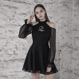 Punk Rave Women's Goth Off Shoulder Black Little Dress With Sheer Sleeves