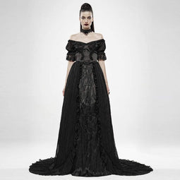Punk Rave Women's Goth Off Shoulder Pleated Long Flared Dresses
