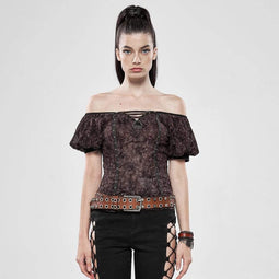 Punk Rave Frauen Goth Off Shoulder Puff Ärmel Tops