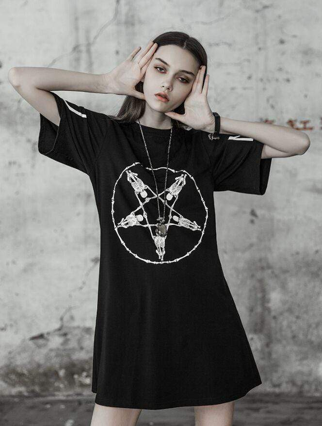 PUNK RAVE Women's Goth Pentagram Printed  Casual Dress