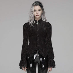 PUNK RAVE Women's Goth Pinstripes Puff Sleeves Velet Shirts