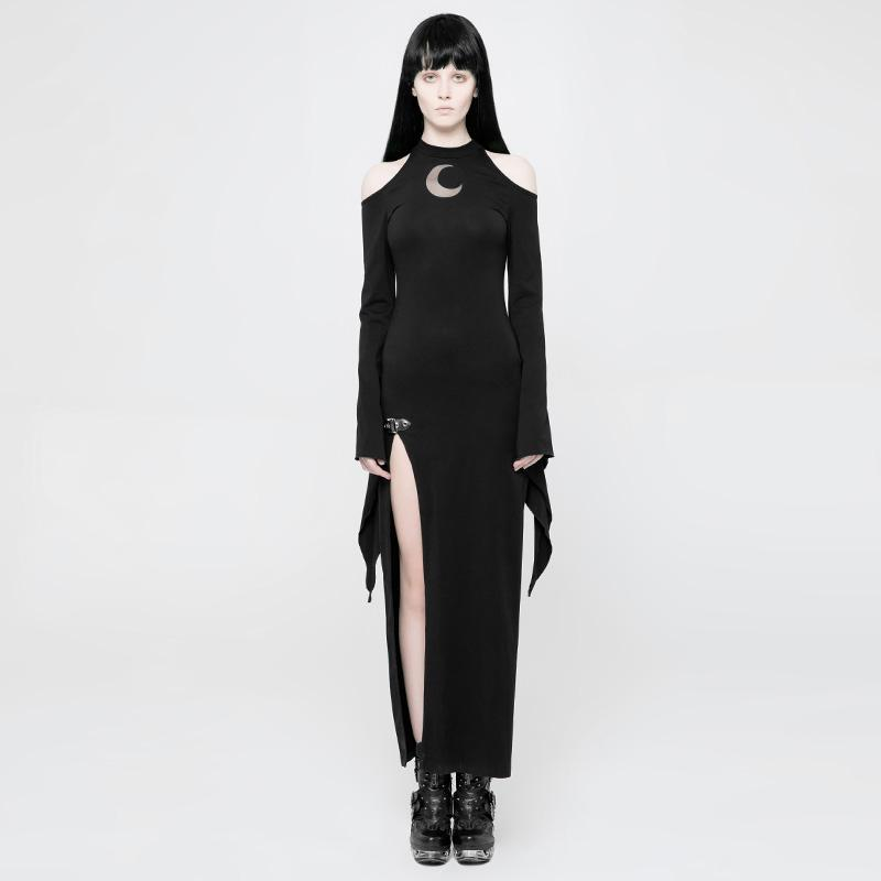 Women's Goth Pixie Sleeve Slit Dress-Punk Design
