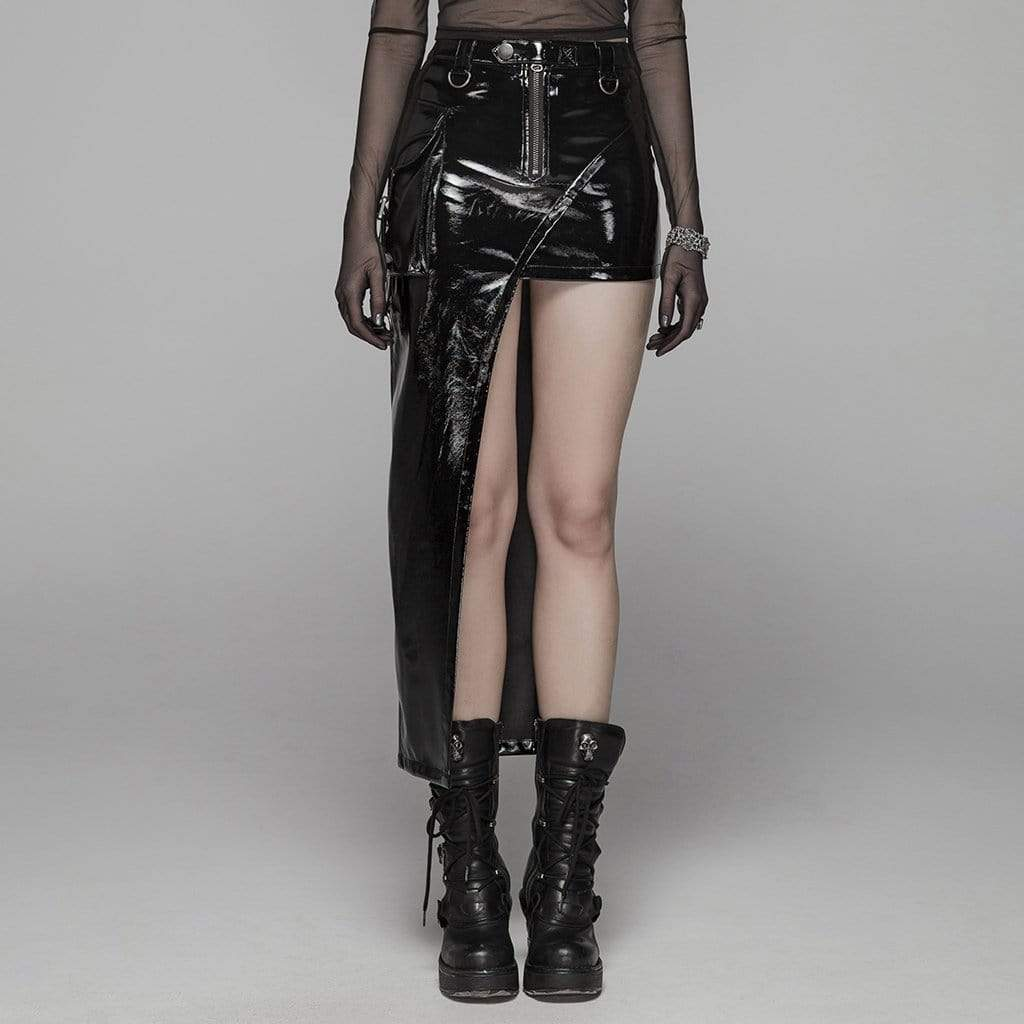 PUNK RAVE Damen Goth PVC Slim Fitted Asymmetrischer Rock