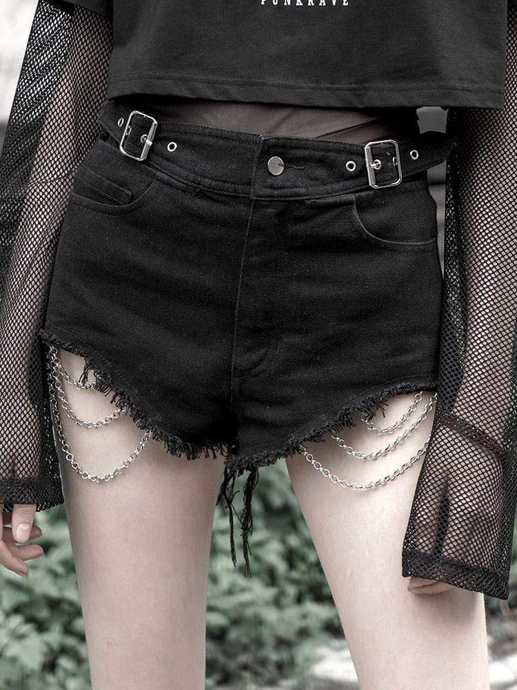 Punk Rave Women's Goth Ripped Denim Shorts With Metal Chains