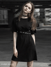 Punk Rave Women's Goth Round Collar Casual Black Dress With Belt