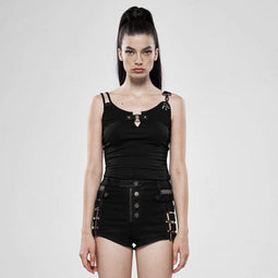 Punk Rave Women's Goth Sexy Slim Fitted Black Tank Tops