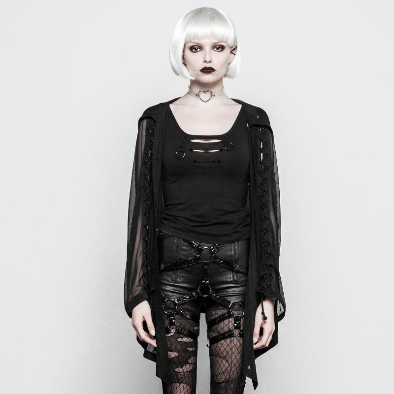 Women's Goth Sheer Net OverShirt-Punk Design