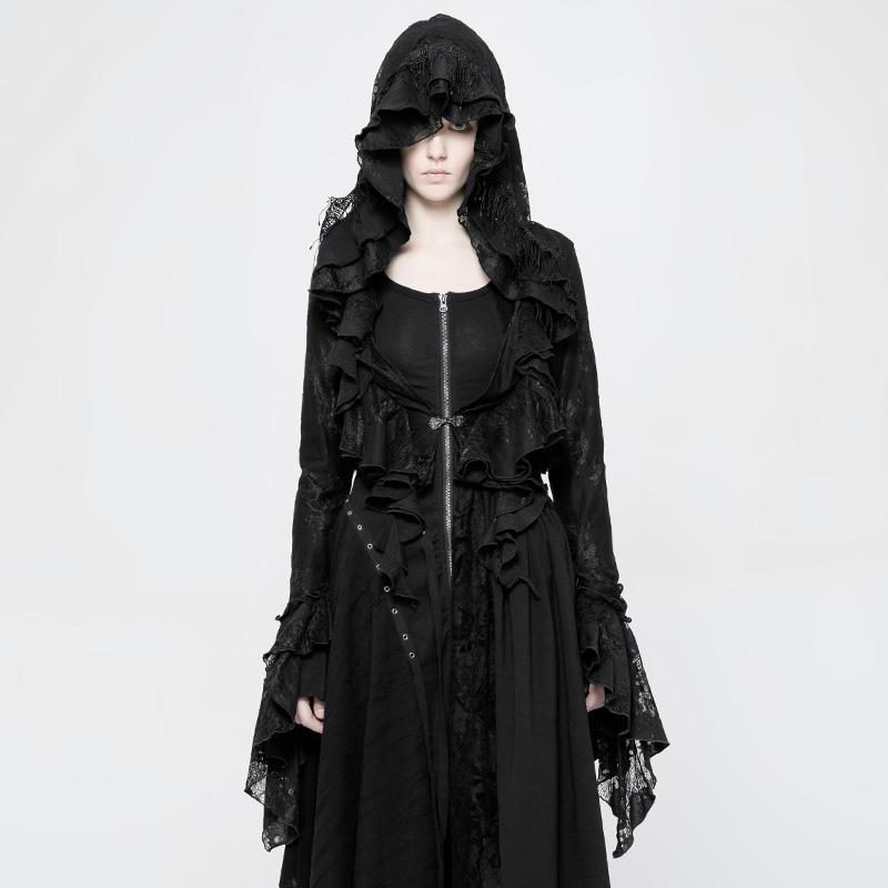 Women's Goth Short Frilled Hoody-Punk Design