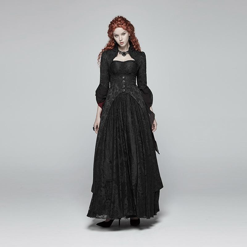 88c80ddb613 Women s Goth Stand Collar Floral Maxi Coat With Flare Sleeves-Punk Design