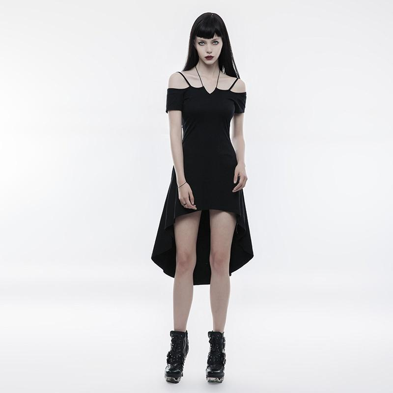Women's Goth Strapless High/low Dress with Rope Necklace-Punk Design