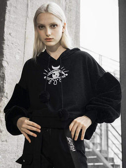 PUNK RAVE Women's Goth Tears Embroideried Casual Hoodies