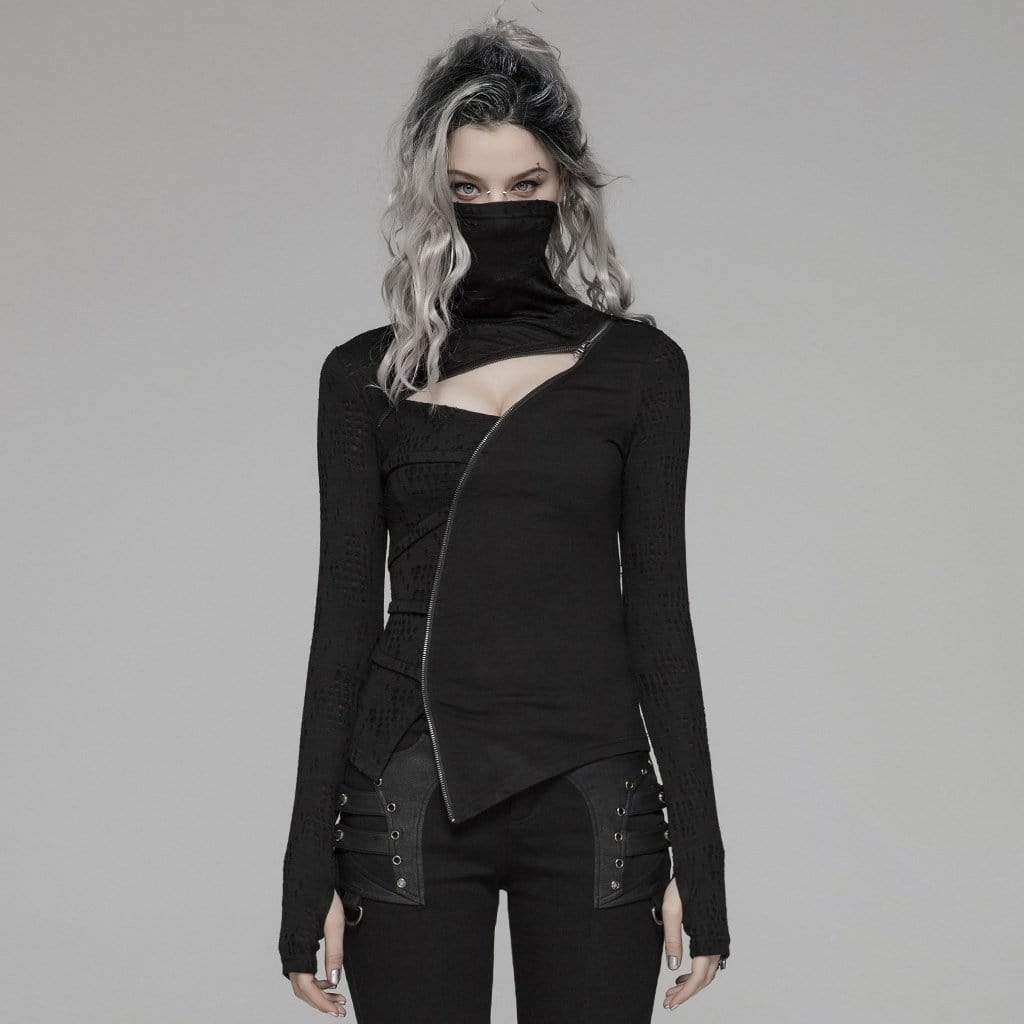 PUNK RAVE Women's Goth Turtleneck Cutout Long Sleeved Tops