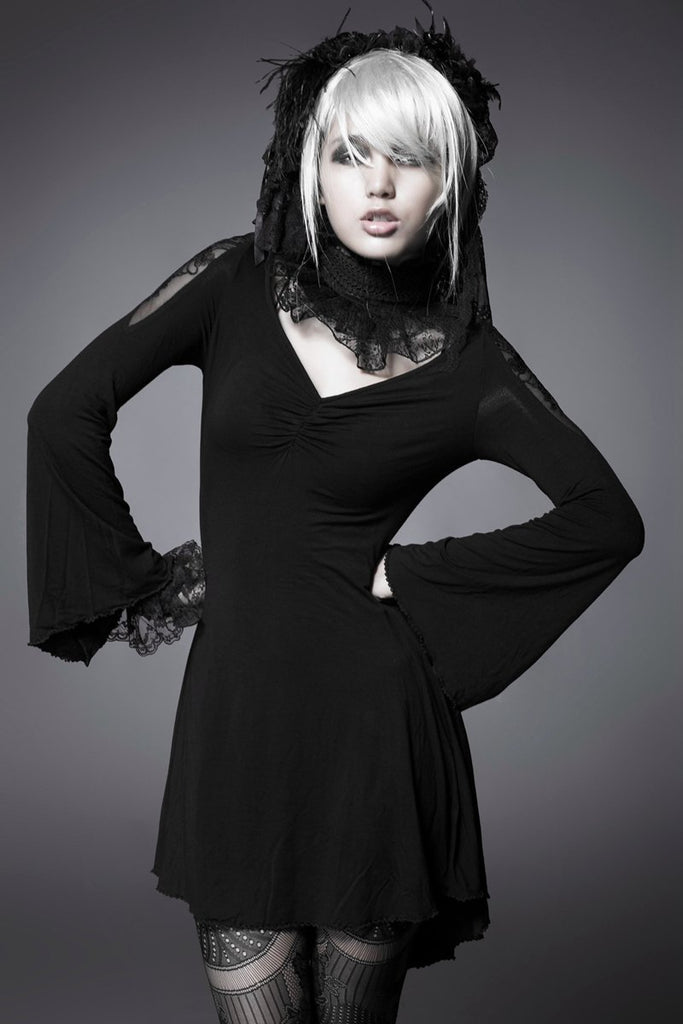 Women's Goth V Neck Stretchy Skinny Mini Dress-Punk Design