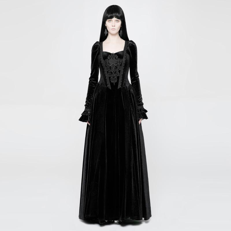 Damen Goth Velour Long Gown-Punk Design