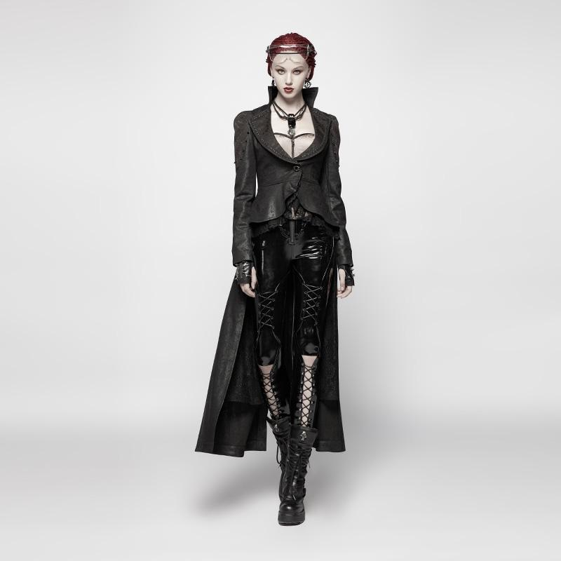 Frauen Goth Victorian High-Low Tail Coat-Punk-Design