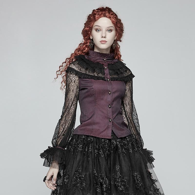 Damen Goth Victorian Lace Sleeve Shirt-Punk-Design