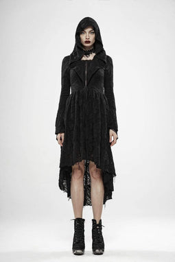 Punk Rave Women's Goth Witch Irregular Folded Coats With Hood