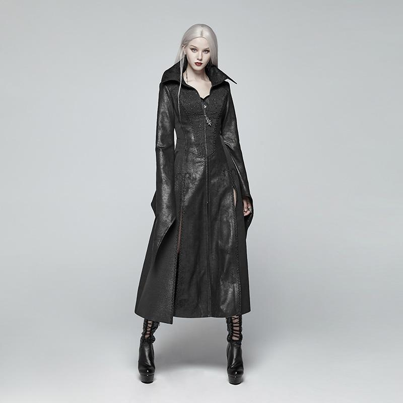 Women's Goth Witch Overcoat With Flare Sleeves-Punk Design