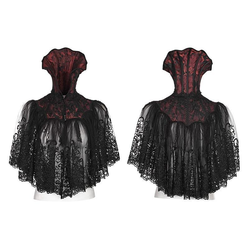 Women's Gothic 3D Embroideried Lace Bat Short Cloak-Punk Design