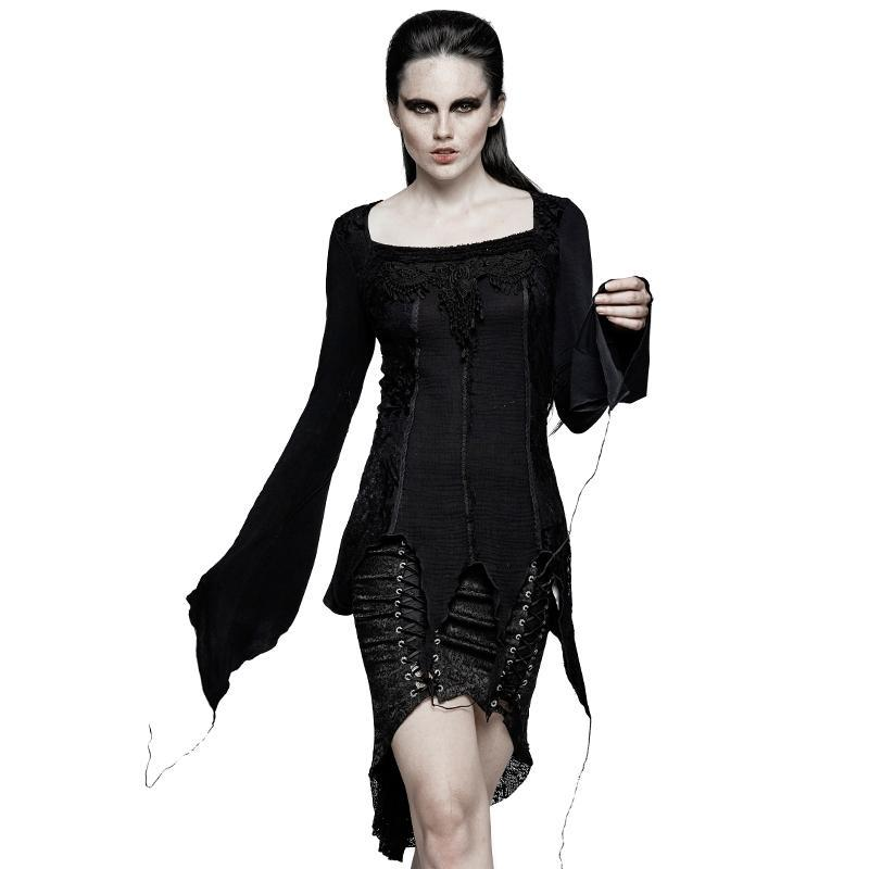 Women's Gothic Asymmetric Square Collar Lace Up Tops-Punk Design