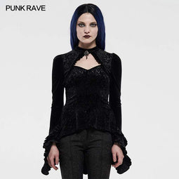 Punk Rave Women's Gothic Back Drawstring Slim-fitted Shirts