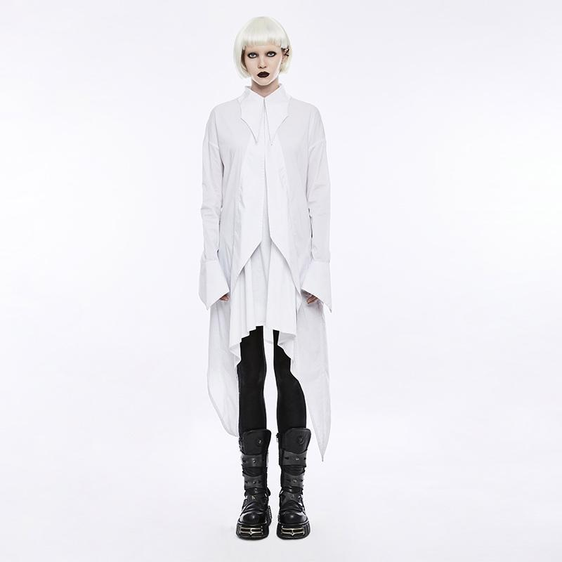 Women's Gothic Bat Wings Curve Shirt Material Dress White-Punk Design