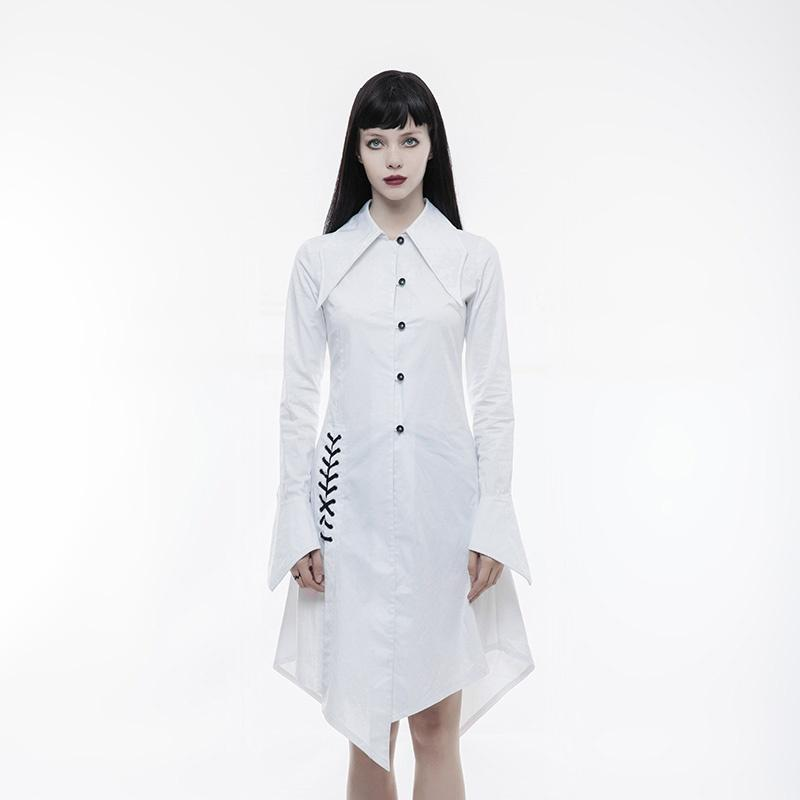 Women's Gothic Batwing Collar U-shape cuff Lace-up Shirt Dress-Punk Design