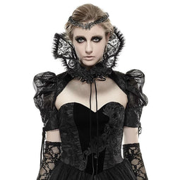 Women's Gothic Black Floral Sheer Lace Neckwear-Punk Design
