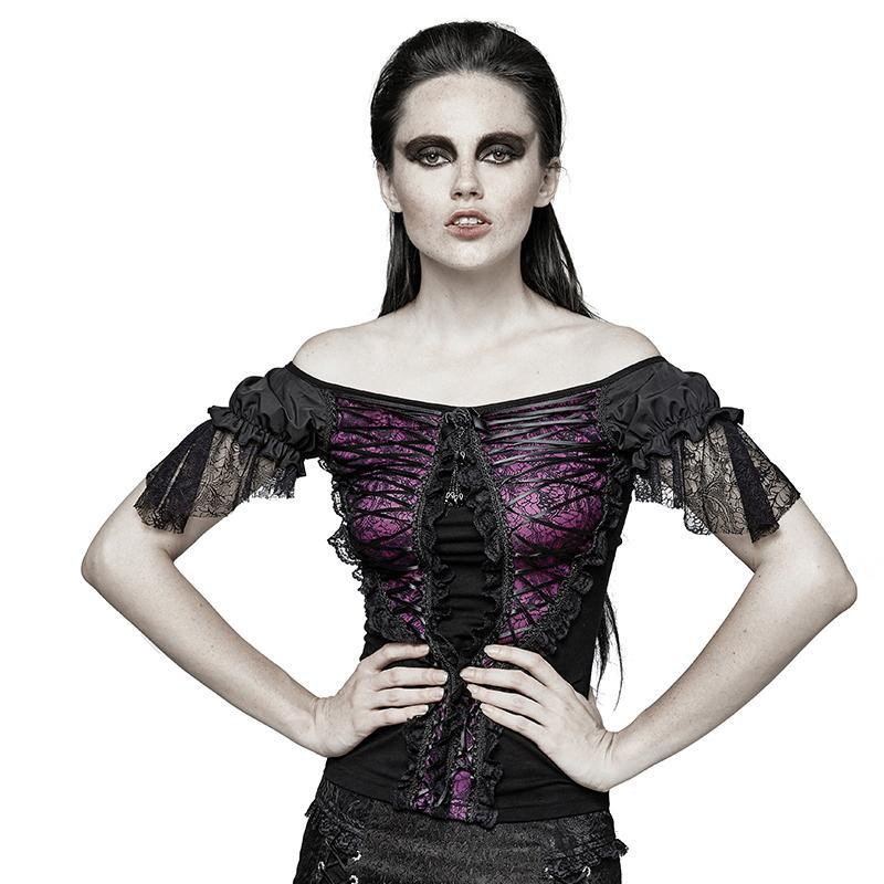 PUNK RAVE Women's Gothic Boat Neck Lace Tunic Tops