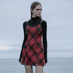 Punk Rave Women's Gothic  Contrast Color Plaid Slip Dresses