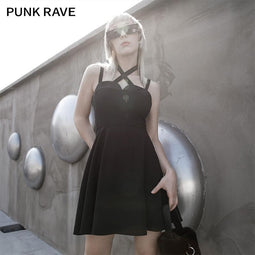 Punk Rave Women's Gothic Cross Halter Slip Dresses