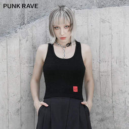 Punk Rave Women's Gothic Cross Strappy Back Slip Tops