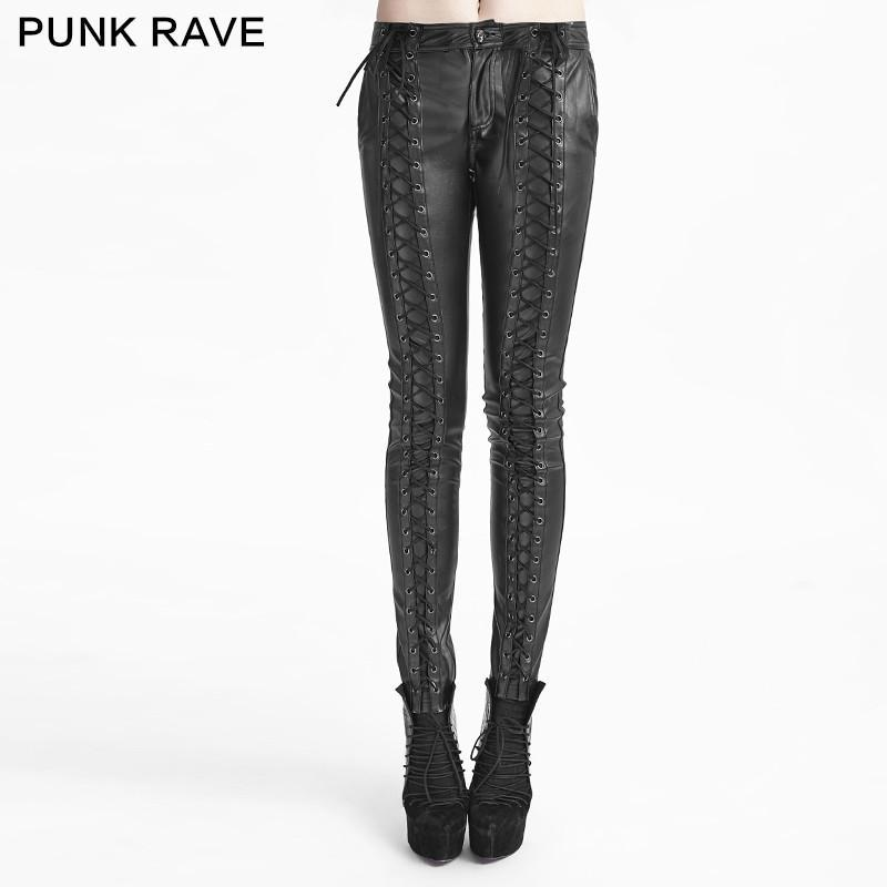 Women's Gothic Faux Leather Lace Up Leggings-Punk Design