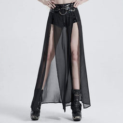 Punk Rave Women's Gothic Faux Leather Shorts With Overskirts