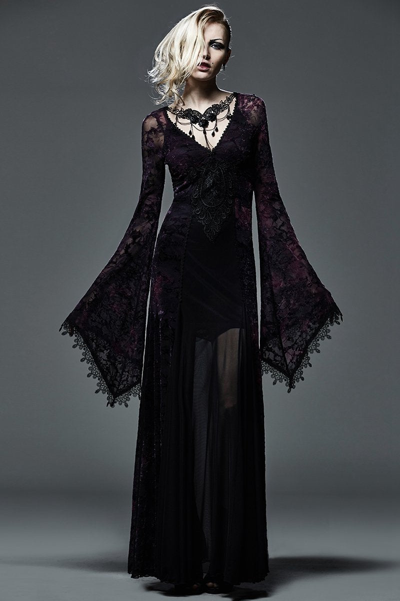 Women's Gothic Flare Sleeve Floral Lace Maxidress-Punk Design