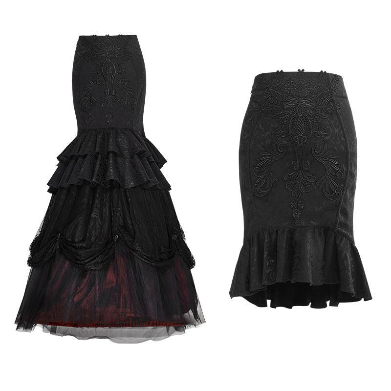 Women's Gothic Floral Embroideried Multilayer Fishtail Skirts-Punk Design