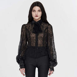 Punk Rave Damen Gothic Floral Lace Collar Sheer Blusen