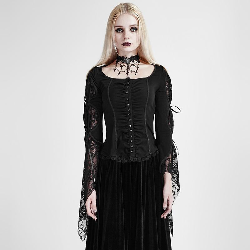 Women's Gothic Floral Lace Flare Sleeve Sheer Tops-Punk Design