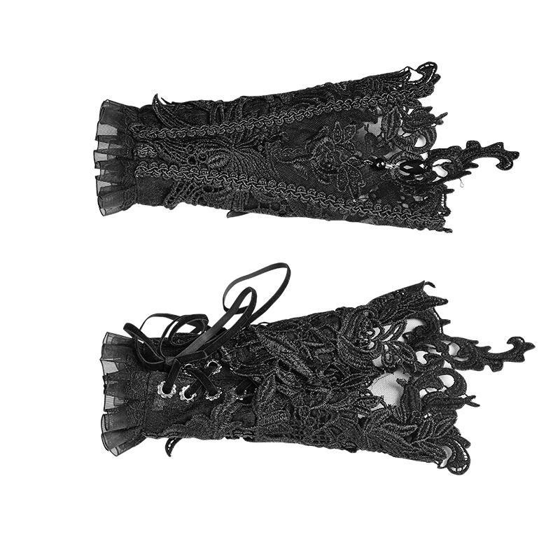 Women's Gothic Floral Lace Gloves-Punk Design
