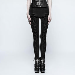3198978c648fa Women's Gothic Floral Lace Up Slim Fitted Leggings-Punk Design