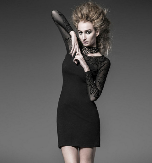Women's Gothic Floral Mesh Long sleeved Slim Fitted Dress-Punk Design